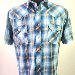 Wrangler Pearl Snap Blue Plaid Western Shirt